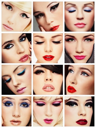 collage of faces: Collage. Belle donne giovani con occhio di gatto elegante make-up. Trucco, moda, bellezza.