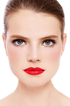 Close-up portrait of beautiful green-eyed woman with red lipstick, white background Stock Photo - 15973478