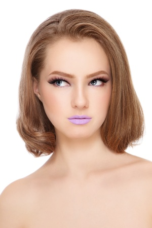 Portrait of young pretty girl with fancy lilac lipstick on her lips, white background Stock Photo - 16711477