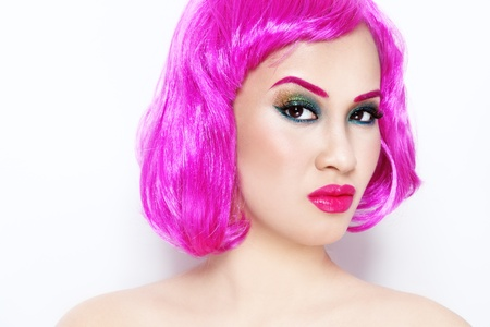 Portrait of young beautiful asian girl in pink wig Stock Photo - 17478147