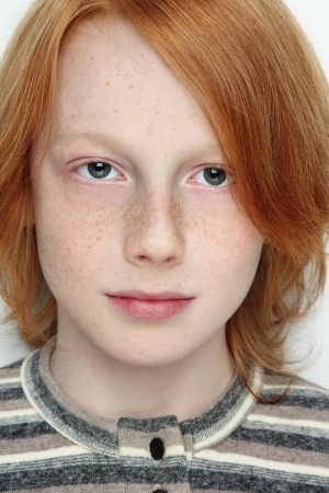 freckled: Close-up portrait of handsome freckled teen boy