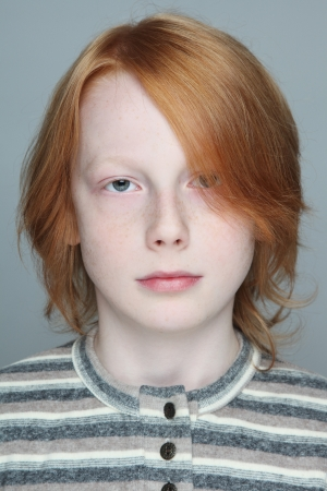freckled: Portrait of handsome redhead freckled teen boy Stock Photo