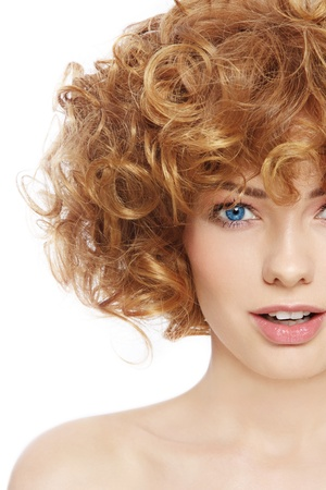 permanent wave: Young beautiful happy sexy woman with curly hair over white background