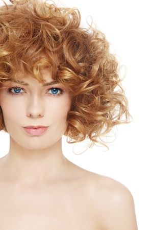Young beautiful healthy woman with curly hair over white background Stock Photo - 21890469