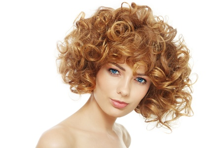 permanent wave: Young beautiful happy healthy woman with curly hair over white background Stock Photo