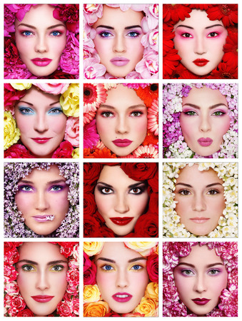 Collage with twelve portraits of beautiful healthy happy women with flowers around their faces. Beauty, make-up, organic cosmetics.  photo