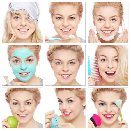 Collage with nine emotional portraits of young beautiful healthy happy girl. Morning, hygiene, beauty.  photo
