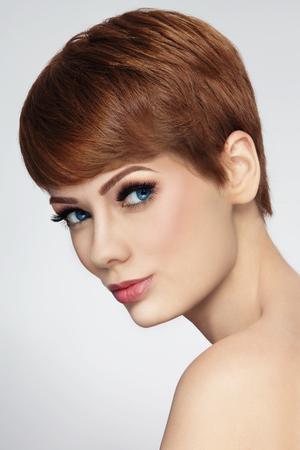 short haircut: Young beautiful woman with stylish short haircut Stock Photo