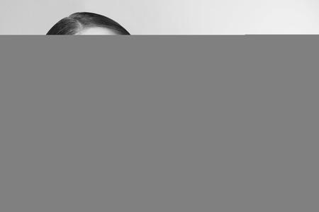 false eyelashes: Horizontal black and white portrait of young beautiful woman with stylish false eyelashes
