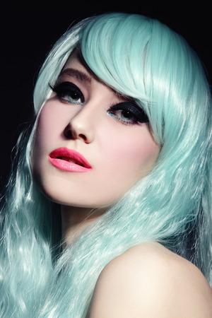 fancy girl: Portrait of young beautiful girl in fancy cosplay wig Stock Photo