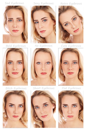 brows: Nine portraits of young beautiful woman with various eyebrow styles on her face. How brows can transform the face. Eyebrows shaping, make-up, beauty. Stock Photo