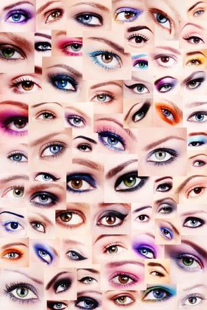 beauty eyes: Background of plenty beautiful womens eyes with trendy colorful make-up. Winged eyes, smoky eyes, false eyelashes. Collage. Stock Photo