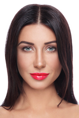 fillers: Portrait of young beautiful tanned woman with long straight hair and red lipstick over white background