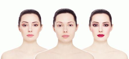 Collage conceptual de tres imágenes de un modelo. cara limpia y sin maquillaje, maquillaje natural y brillante del partido del maquillaje, sobre fondo blanco. Cejas, complexión, barra de labios. Foto de archivo