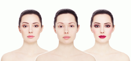 complexion: Conceptual collage with three images of one model. Clean face without make-up, natural make-up and bright party make-up, over white background. Eyebrows, complexion, lipstick. Stock Photo