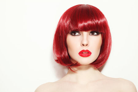 fillers: Portrait of young beautiful sexy red-haired girl with bob haircut and stylish make-up