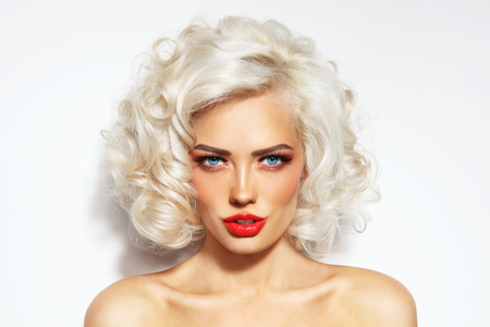 bleached: Portrait of young beautiful blonde sexy woman with stylish hairdo and red lips