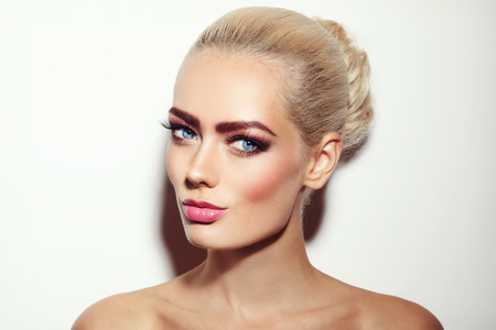 cheekbones: Vintage style portrait of young beautiful blonde girl with stylish fresh make-up