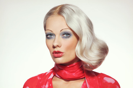 platinum hair: Vintage style portrait of young beautiful girl with platinum blond bleached hair and thin eyebrows