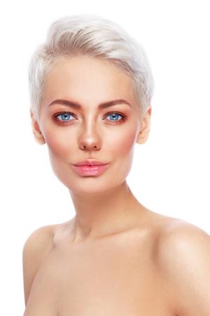 清潔で新鮮なメイクアップの若い金髪美女 写真素材