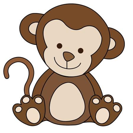 Cartoon Illustration of Cute Monkey Animal Illustration