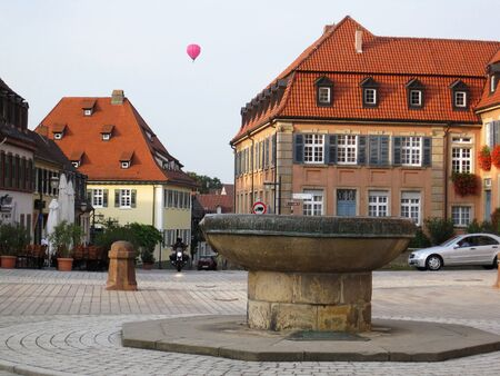 trip over: A pink balloon above a statue in German town Spyer