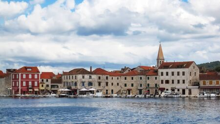 Panoramic view on old city Starigrad mostly made from stone at cloudy day Stock Photo