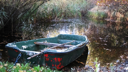 Green, plastic rowboat in the swamp