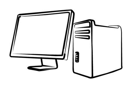 Computer, system block, monitor Illustration