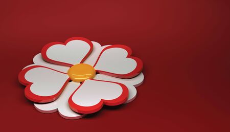Beautiful camomile on a red background. Greeting Card.