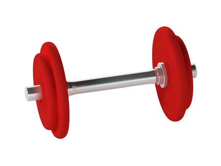 A red dumbbell isolated on a white background, 3D render