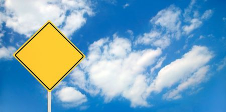 A blank yellow traffic sign ready for your text! photo