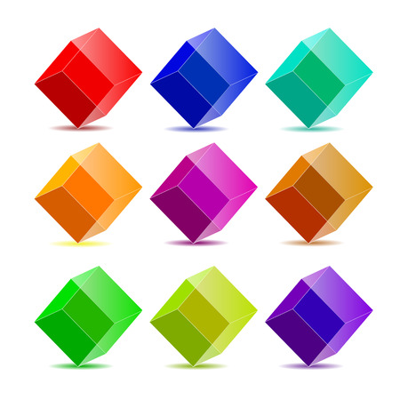 group of objects: collection colorful cubes Illustration