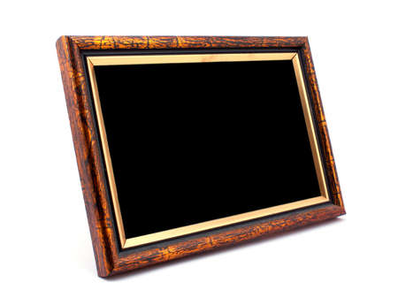 Vintage wooden photo frame on white background