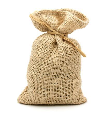 Burlap gift sack isolated on white background