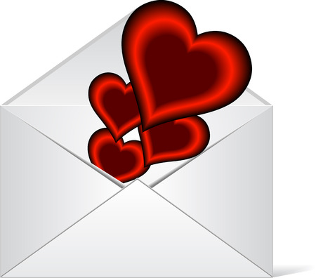 Hearts in love coming out from a envelope Illustration