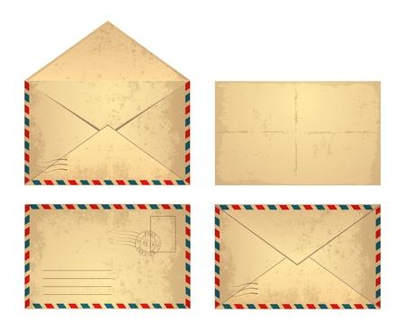 sobres para carta: Conjunto de envolvente de cosecha de vector. Vectores