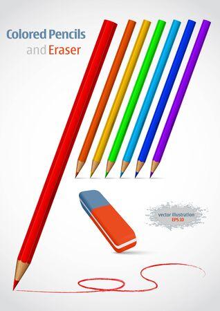 Pencil and eraser. illustration set. Vector