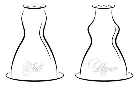 black pepper: Antique salt and pepper illustration Illustration