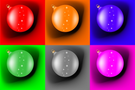 Different christmas balls on a colored background