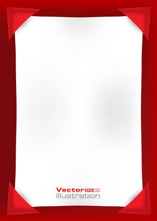 Empty white page on a red background Illustration