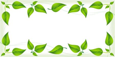 Green leaves border Illustration