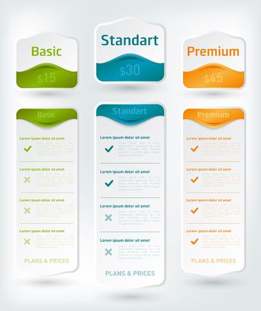 Conjunto de tarifas de oferta. Banner de vectores para aplicaciones web. Conjunto de tabla de precios, orden, lista.