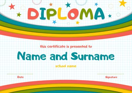 School Kids Diploma Certificate Background Design Template