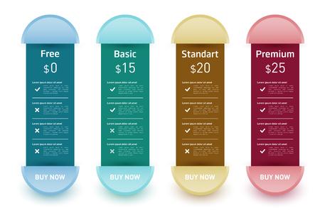 Set of offer tariffs. Vector banner for web applications. Set of pricing table, order, list. Illustration