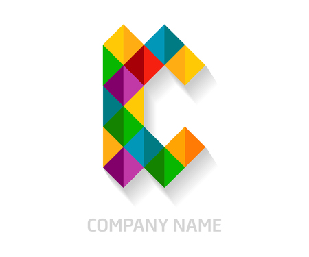 C letter colorful logo design. Template elements for your application or company identity.