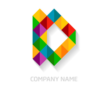 D letter colorful logo design. Template elements for your application or company identity. Illustration