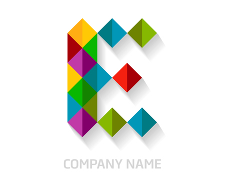 E letter colorful logo design. Template elements for your application or company identity. Illustration