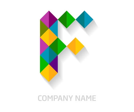 F letter colorful logo design. Template elements for your application or company identity. Illustration