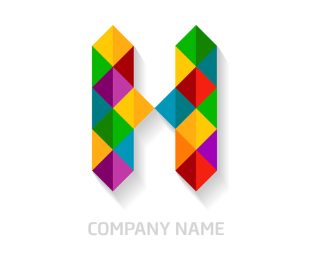 H letter colorful logo design. Template elements for your application or company identity. Illustration